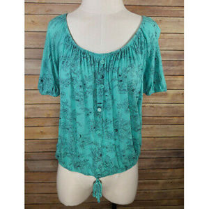 Lavish Teal Floral Draped Elastic Tie Front Top